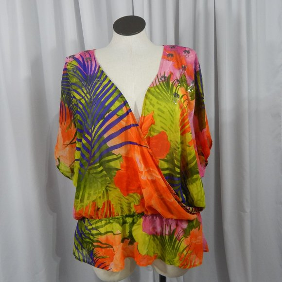 Lane Bryant Tops - NEW Sheer Overlay Blouse Tropical Print ~ Size 16